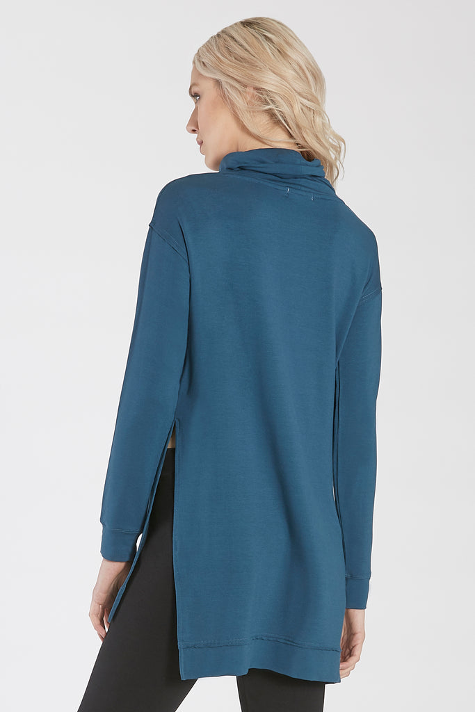 IMOGEN FUNNEL NECK LONG SLEEVE TUNIC W/SIDE VENTS SAPPHIRE