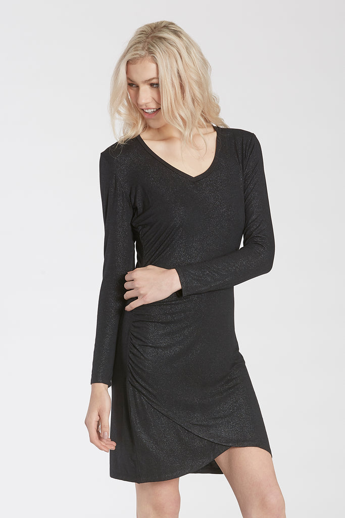 CECE FITTED V-NECK DRESS BLACK