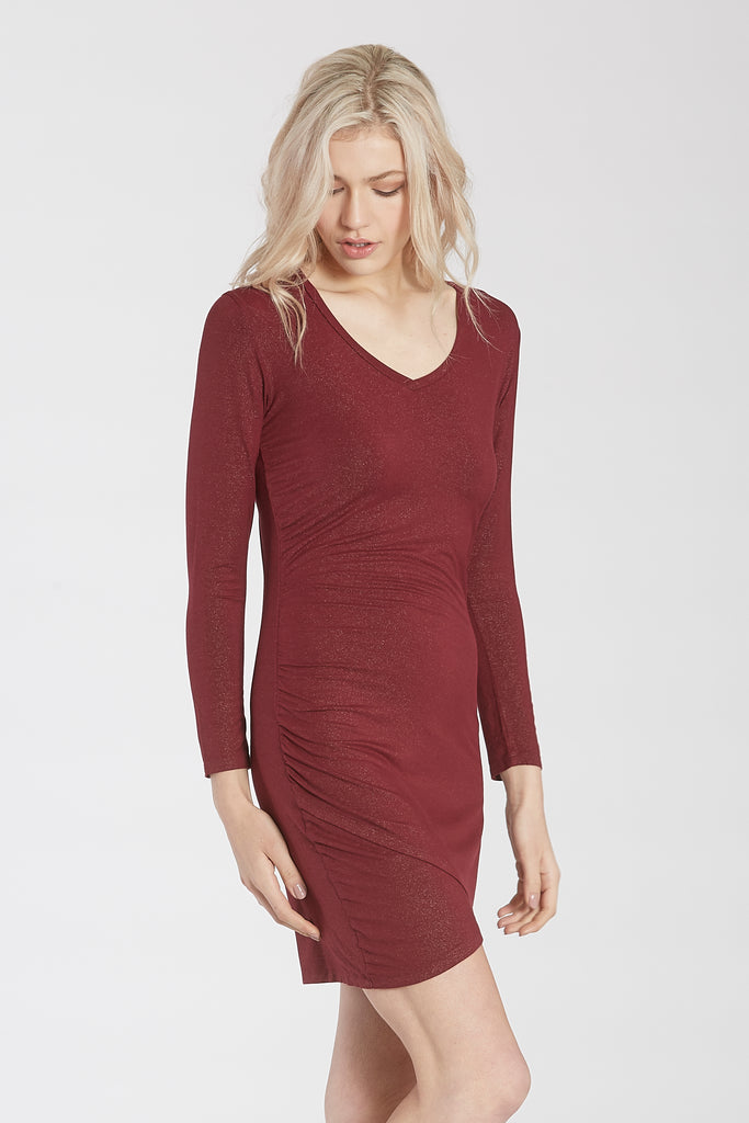CECE FITTED V-NECK DRESS BORDEAUX