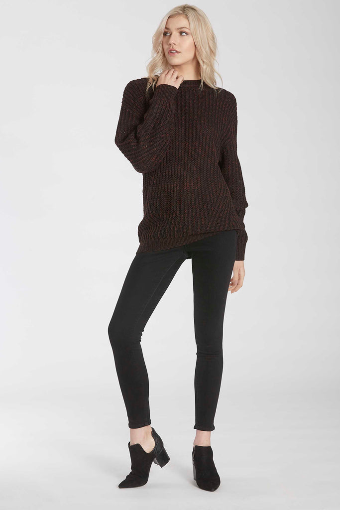 ESME MARBLE KNIT CREW NECK SWEATER BLACK