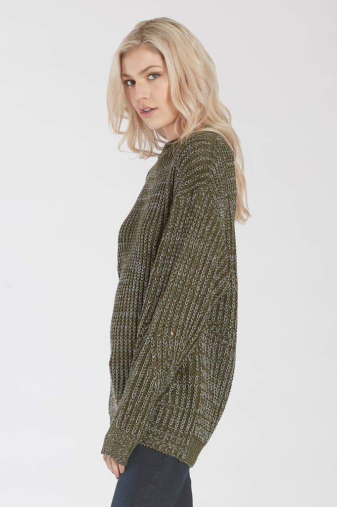 ESME MARBLE KNIT CREW NECK SWEATER DEEP OLIVE