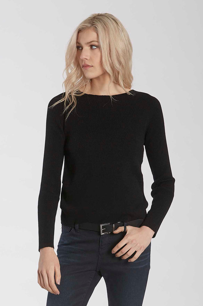 RUBY KNIT SWEATER W/TULIP BACK HEM BLACK