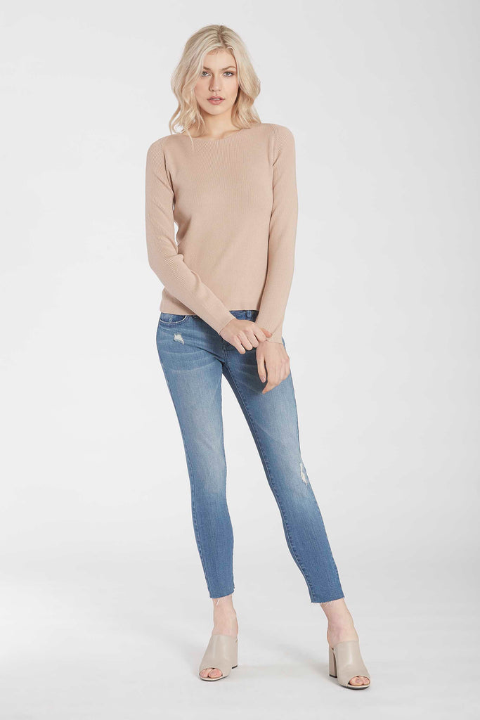 RUBY KNIT SWEATER W/TULIP BACK HEM TAUPE