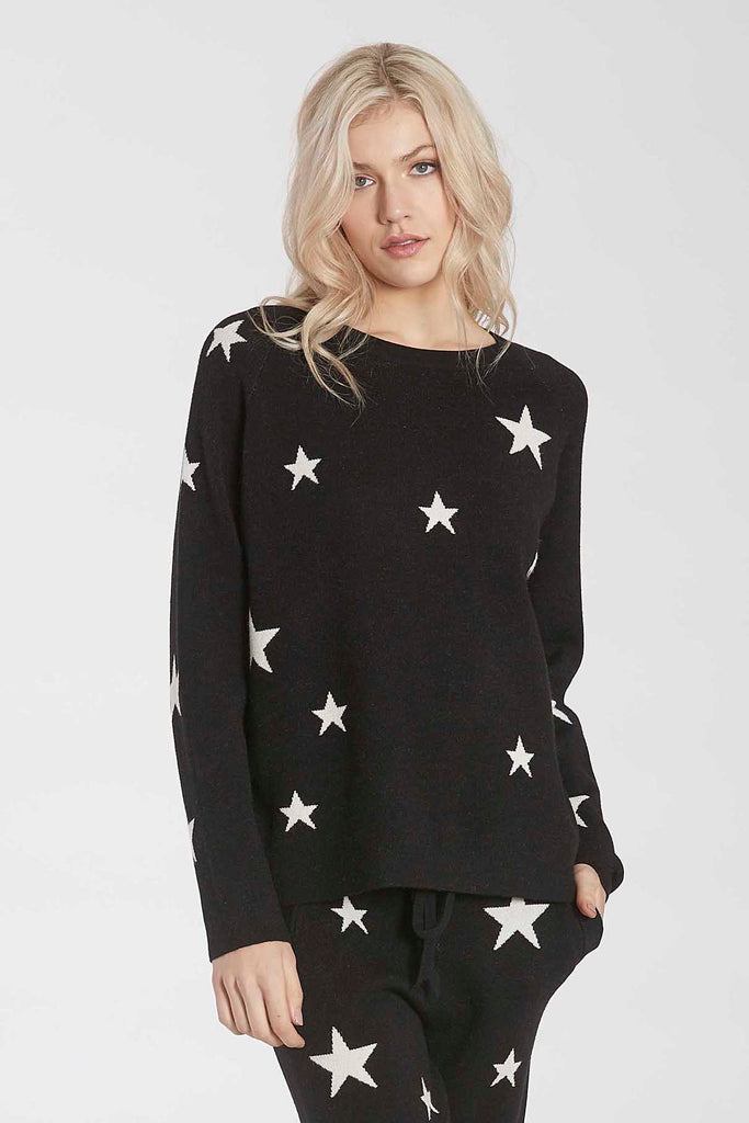 WAYLYNN KNIT STAR SWEATER BLACK