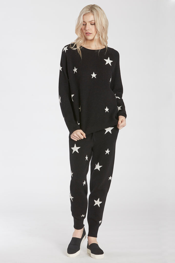 CORY SWEATER KNIT STAR JOGGER BLACK