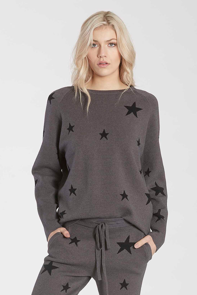 WAYLYNN KNIT STAR SWEATER CHARCOAL