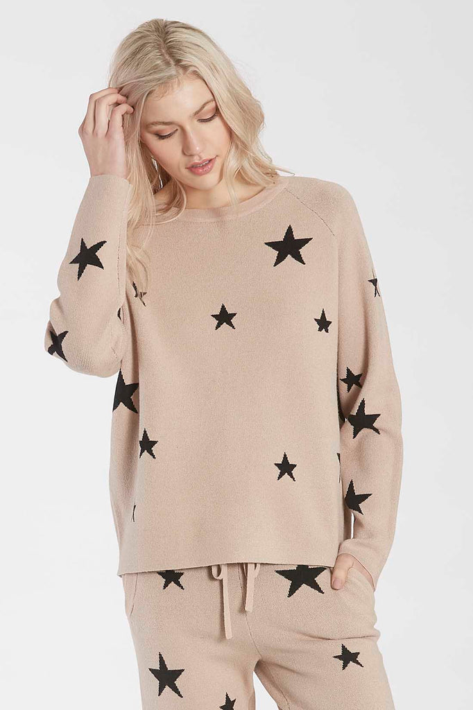 WAYLYNN KNIT STAR SWEATER TAUPE