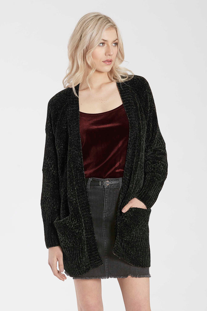 JADE RELAXED CHENILLE CARDIGAN BLACK