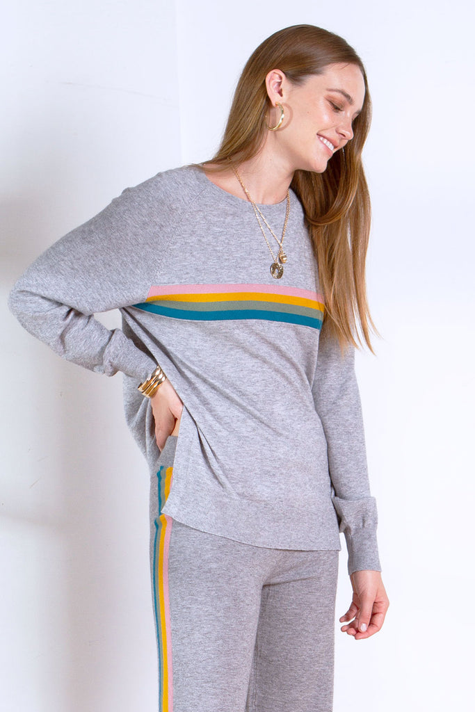 LIZA SWEATER KNIT CREW NECK HEATHER GREY
