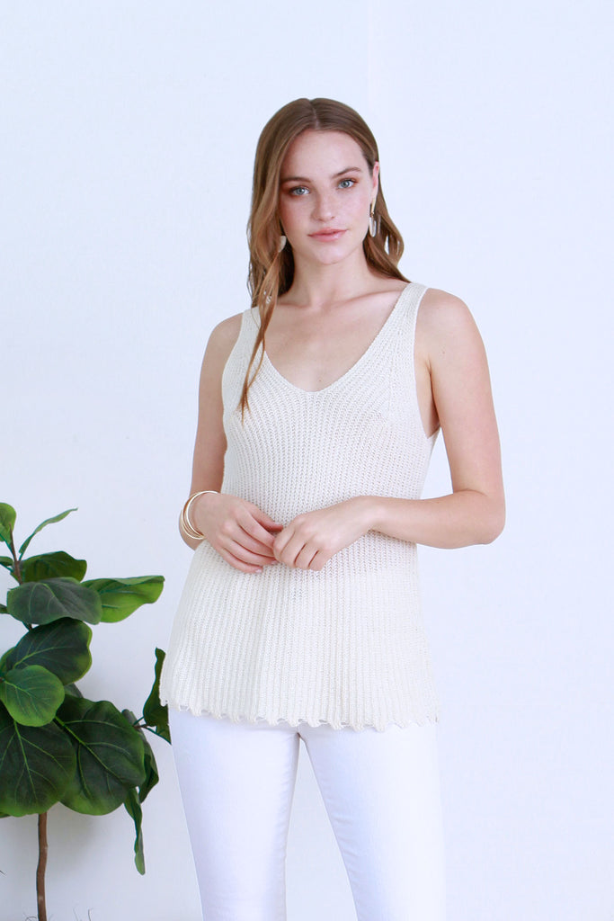 CALLISTA SWEATER KNIT V-NECK TANK IVORY