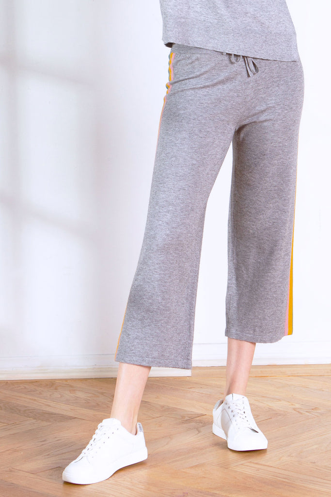 MAC SWEATER KNIT CROP STRAIGHT LEG PANT HEATHER GREY