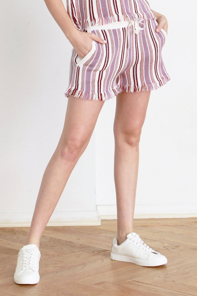 CHERI STRIPE SWEATER KNIT SHORT IVORY