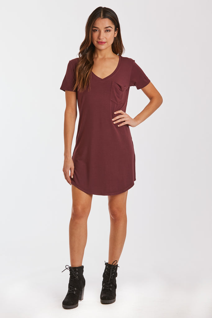 CASSIDY SOLID TSHIRT DRESS BORDEAUX