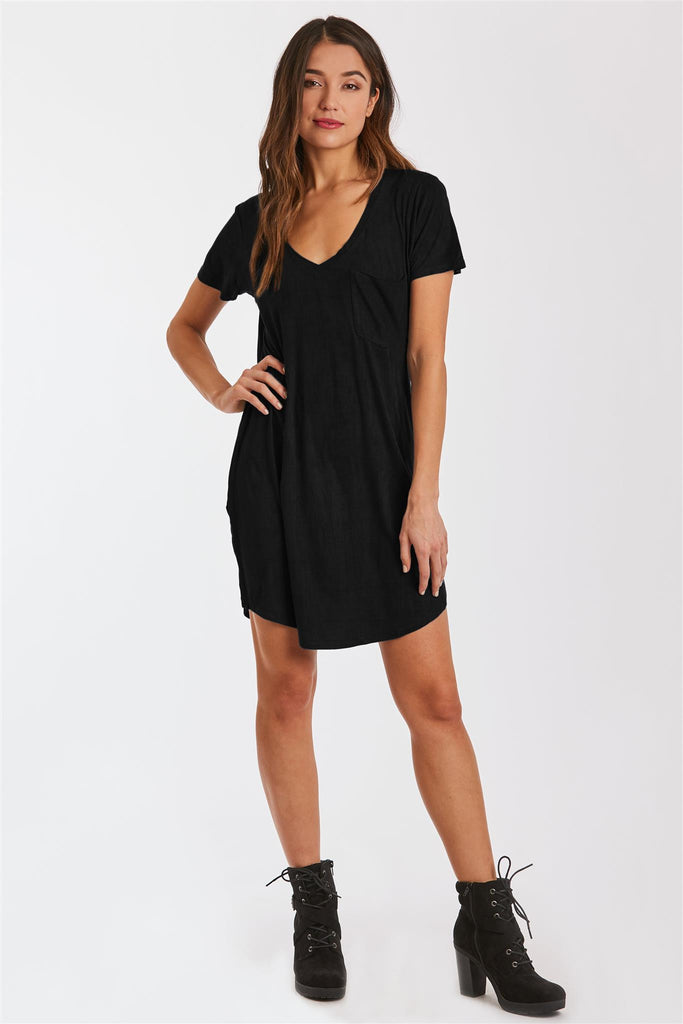 CASSIDY SUEDE TSHIRT DRESS BLACK