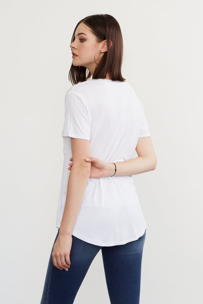 PHOENIX POCKET VNECK TEE WHITE