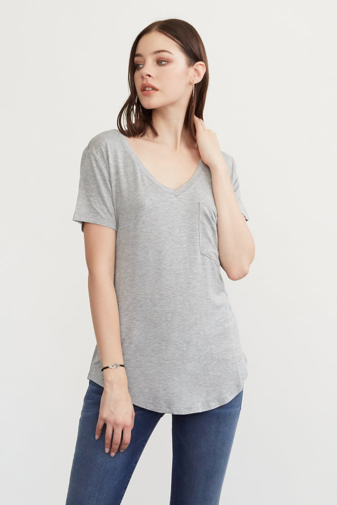 PHOENIX POCKET VNECK TEE HEATHER GREY