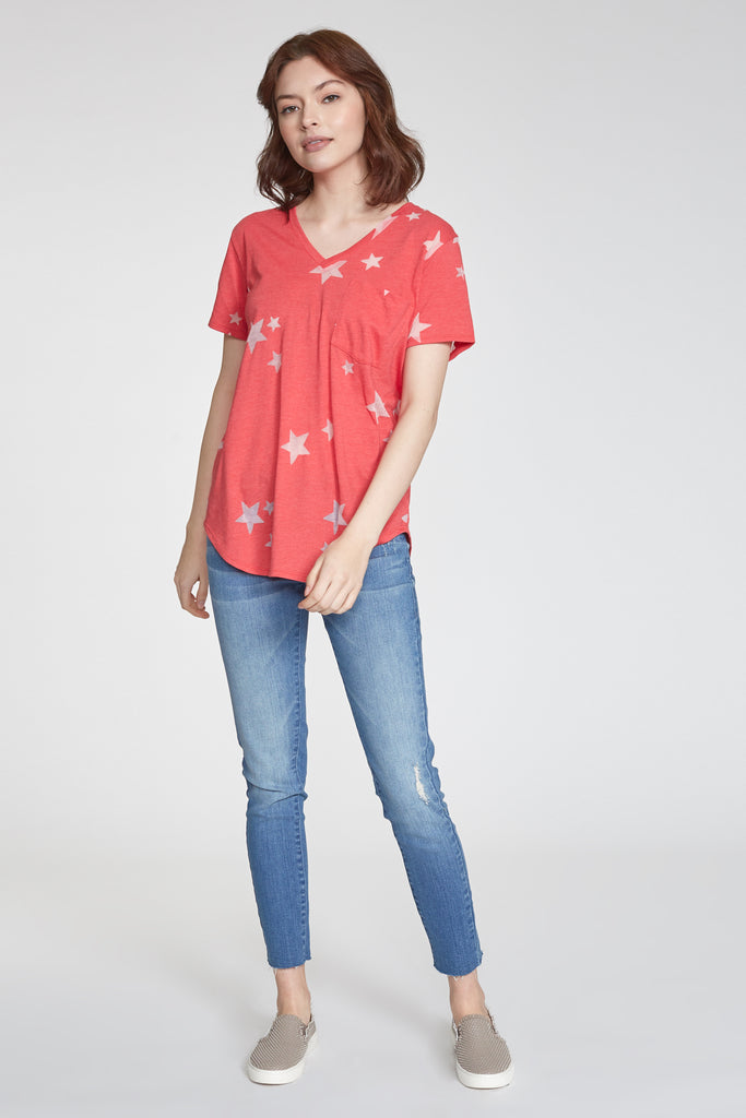 PHOENIX BURNOUT STAR PRINTED VNECK CHERRY
