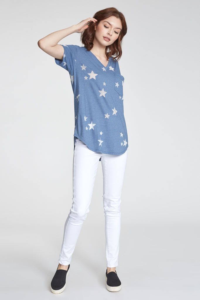 PHOENIX BURNOUT STAR PRINTED VNECK MOONLIGHT BLUE