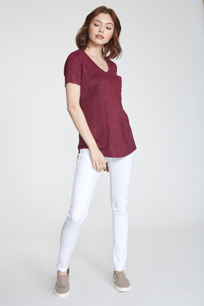 PHOENIX SUEDE V-NECK TOP DRAGON FRUIT