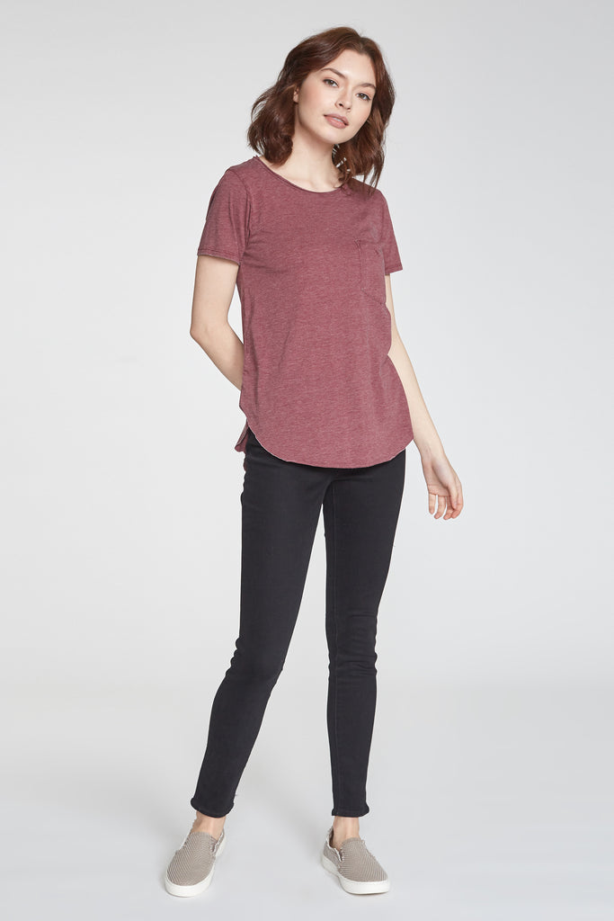 SAM CREW NECK BURNOUT TEE BORDEAUX