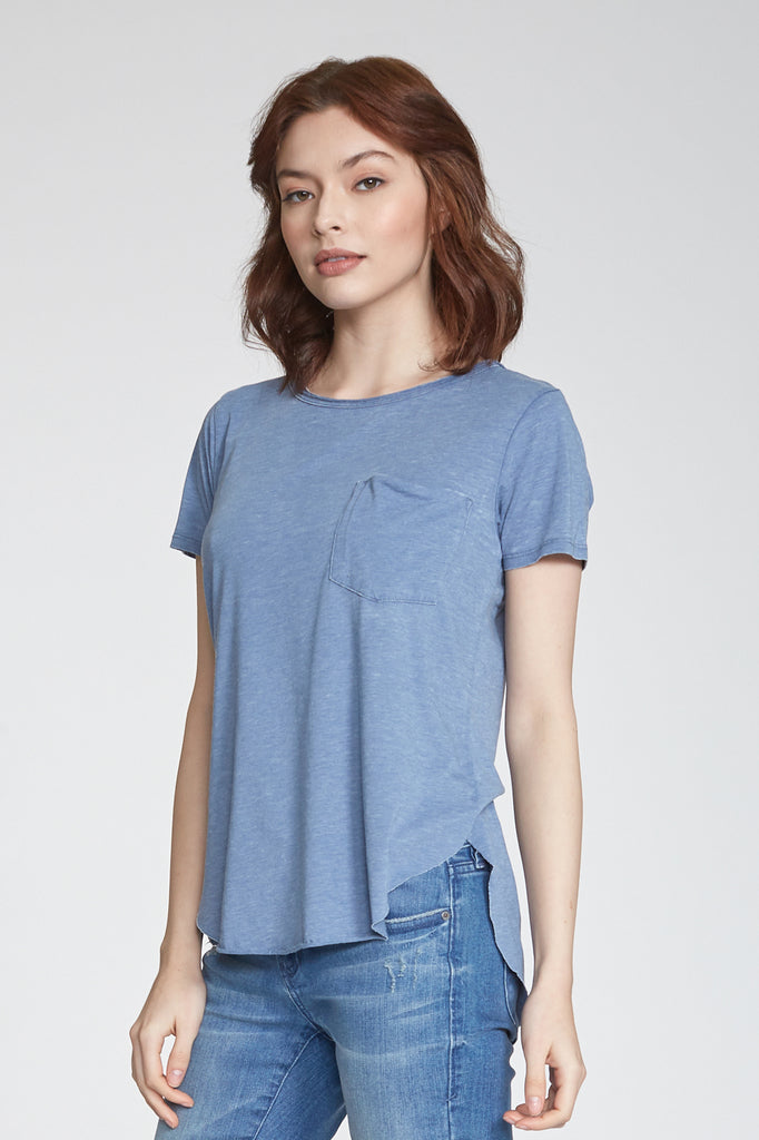 SAM CREW NECK BURNOUT TEE MOONLIGHT BLUE