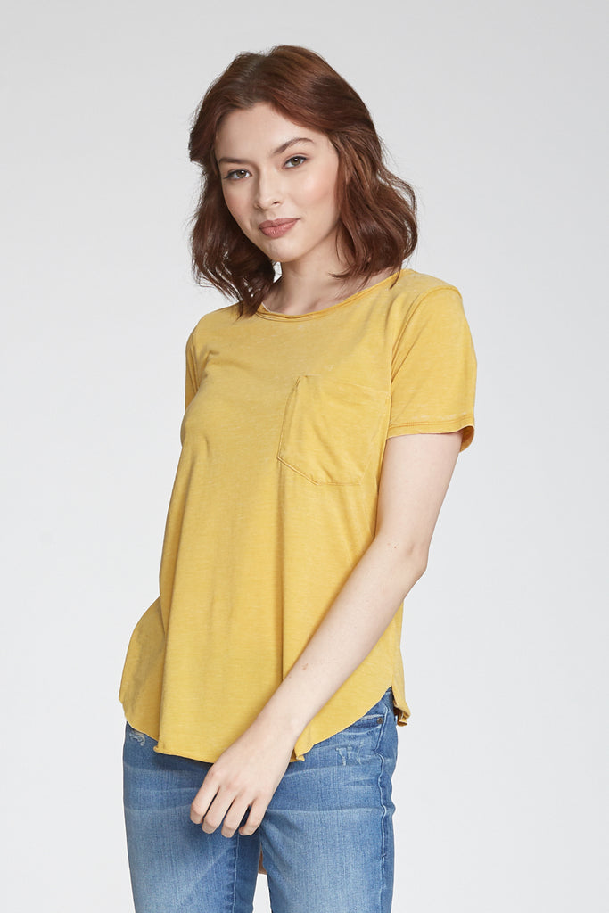 SAM CREW NECK BURNOUT TEE SAFFRON
