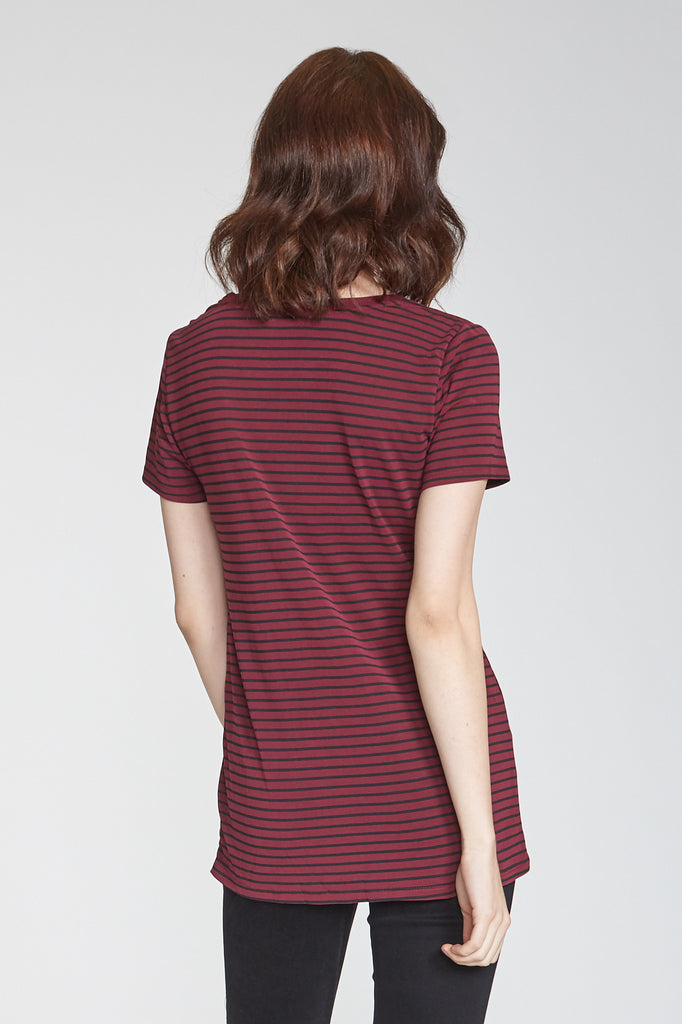 JULIA STRIPED BORDEAUX