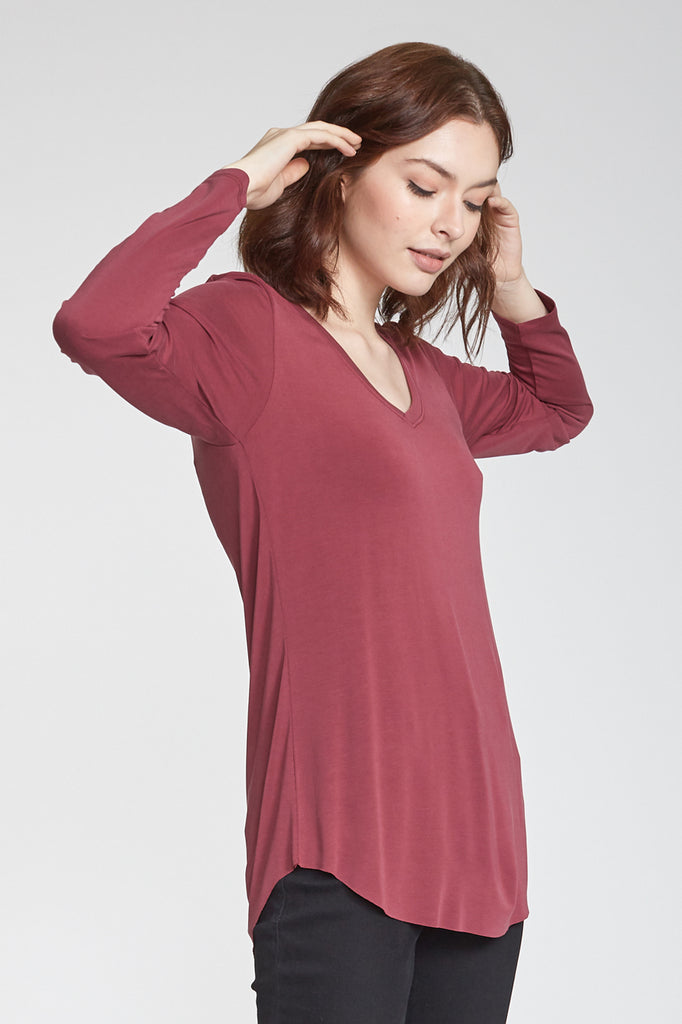 LILAH LONG SLEEVE VNECK BORDEAUX