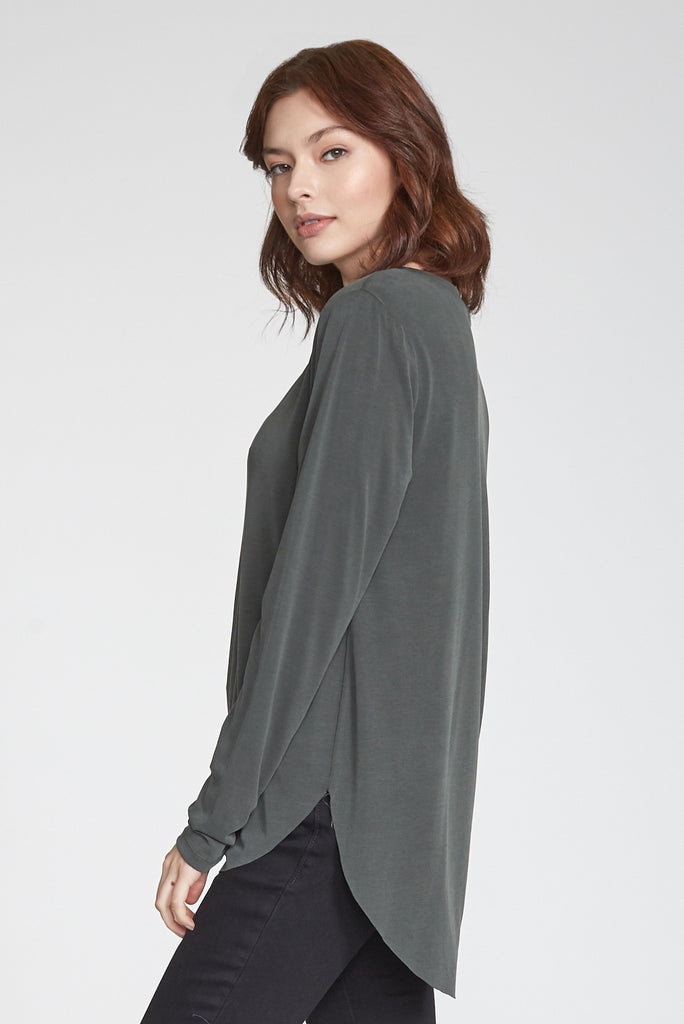 LILAH LONG SLEEVE VNECK SAFARI