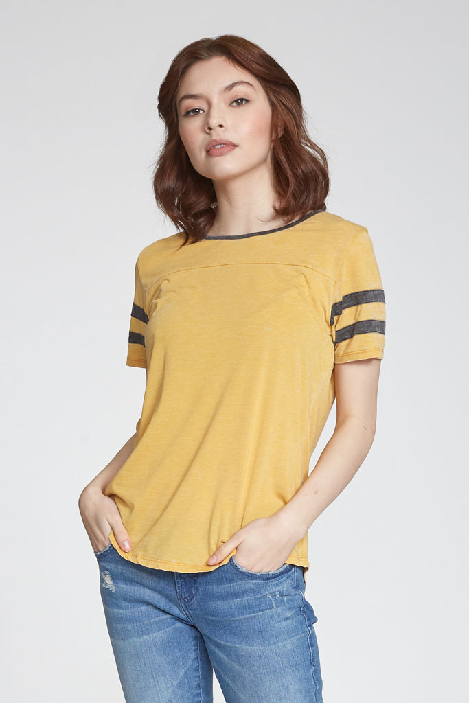 ANALISA BURNOUT ATHLETIC TEE SAFFRON/CHARCOAL