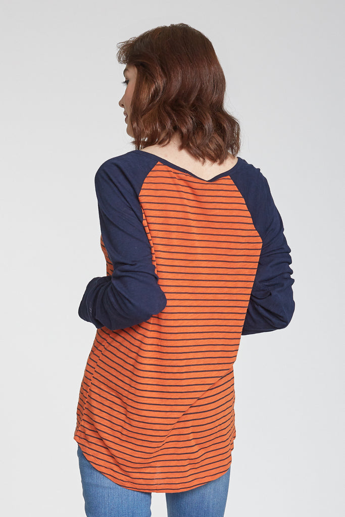 MAYA PRINTED STRIPE LONG SLEEVE RUST/NAVY