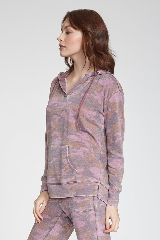 TAMMY BURNOUT FRENCH TERRY HOODIE PINK CAMO