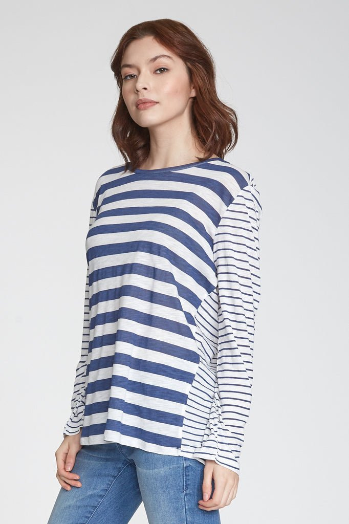 RONI PRINTED MIX STRIPE LONG SLEEVE WHITE/NAVY