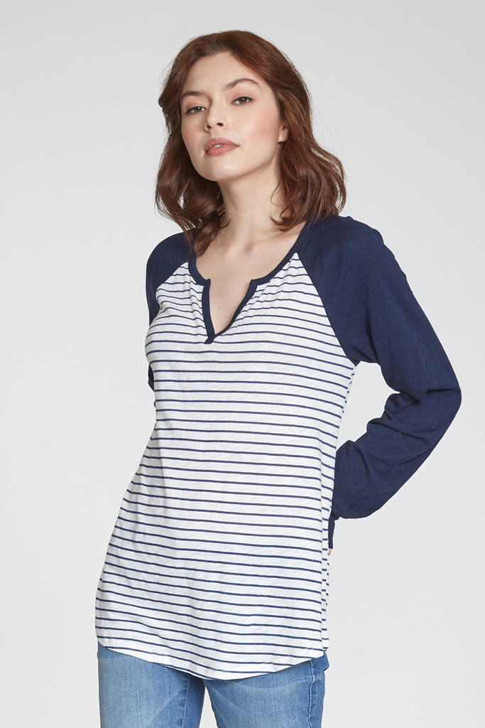 MAYA PRINTED STRIPE LONG SLEEVE WHITE/NAVY