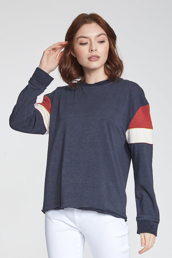 JESSIE COLORBLOCK LONG SLEEVE NAVY