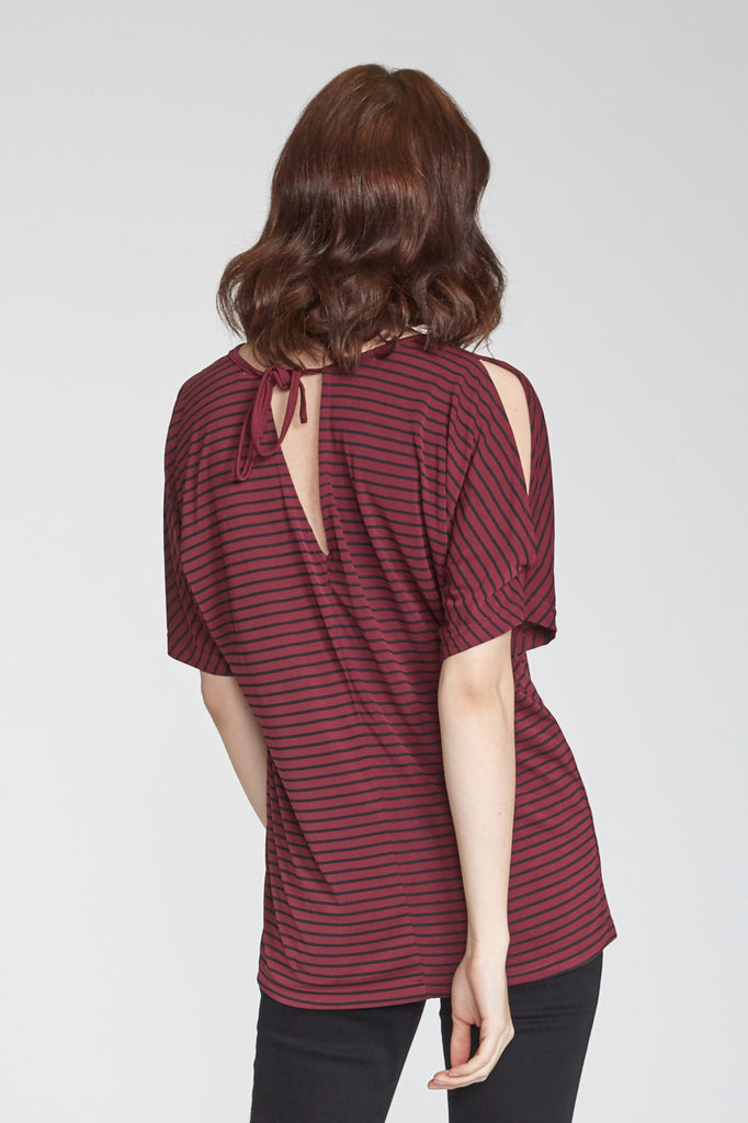 TORI PRINTED STRIPE CREW NECK BORDEAUX