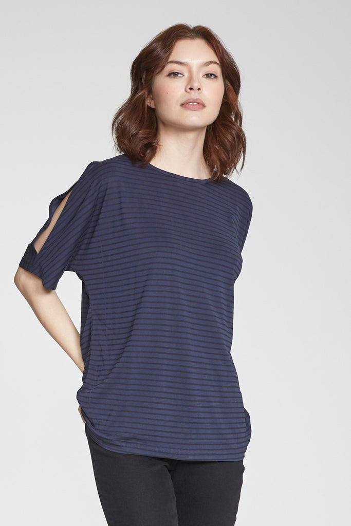 TORI PRINTED STRIPE CREW NECK NAVY