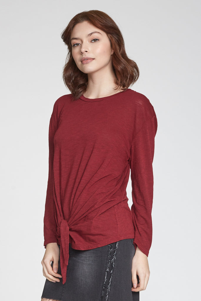 JULIANA SELF TIE FRONT LONG SLEEVE TOP BORDEAUX