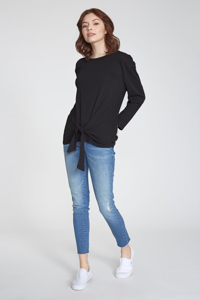 JULIANA SELF TIE FRONT LONG SLEEVE TOP BLACK