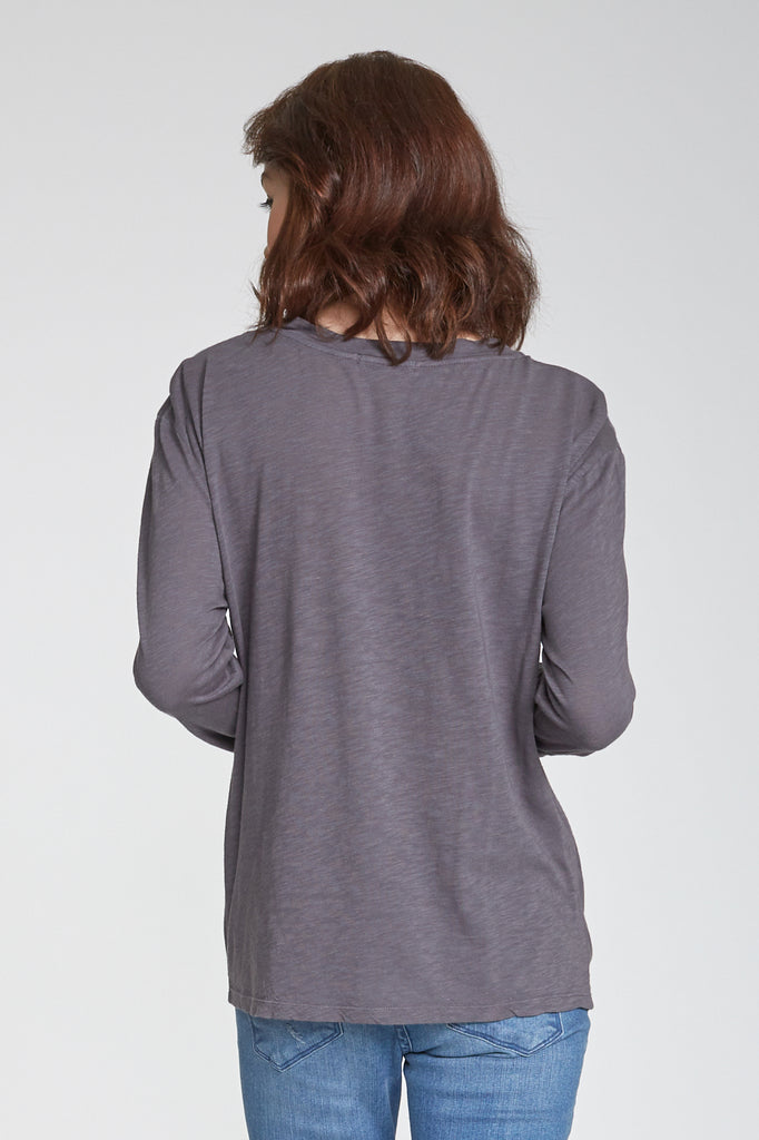 JULIANA SELF TIE FRONT LONG SLEEVE TOP CHARCOAL