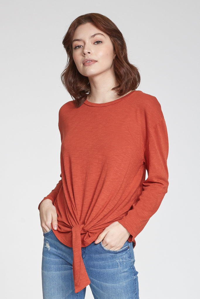 JULIANA SELF TIE FRONT LONG SLEEVE TOP RUST