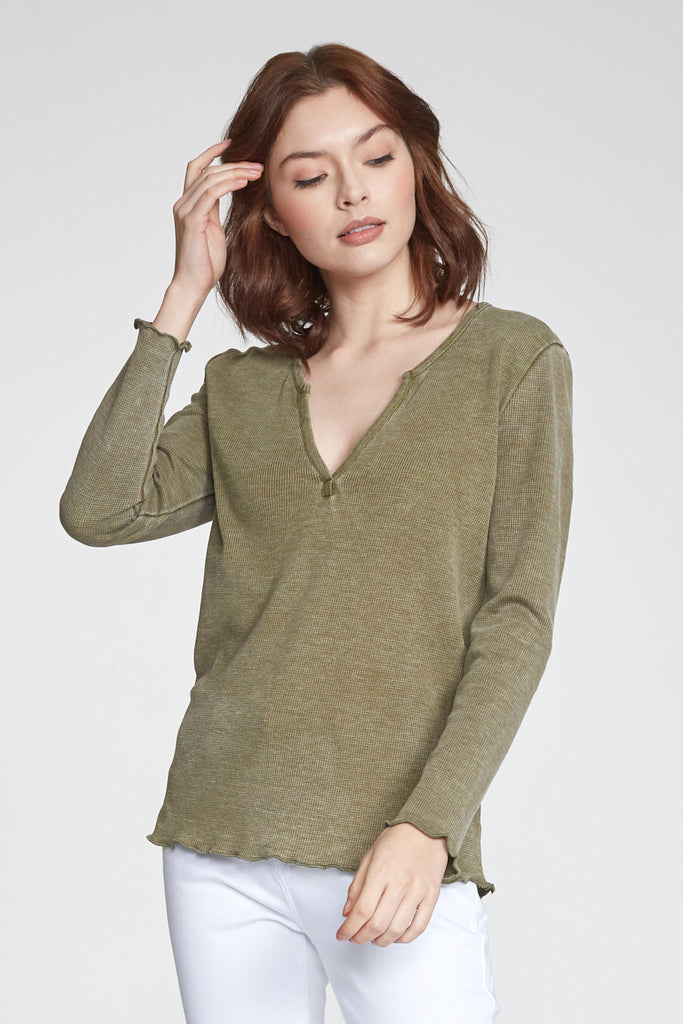 ALAINA VINTAGE WASH LONG SLEEVE SAFARI
