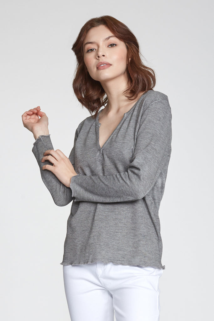 ALAINA VINTAGE WASH LONG SLEEVE HEATHER GREY