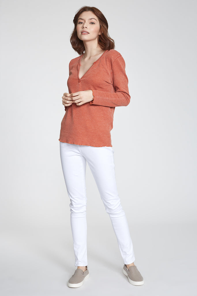 ALAINA VINTAGE WASH LONG SLEEVE RUST