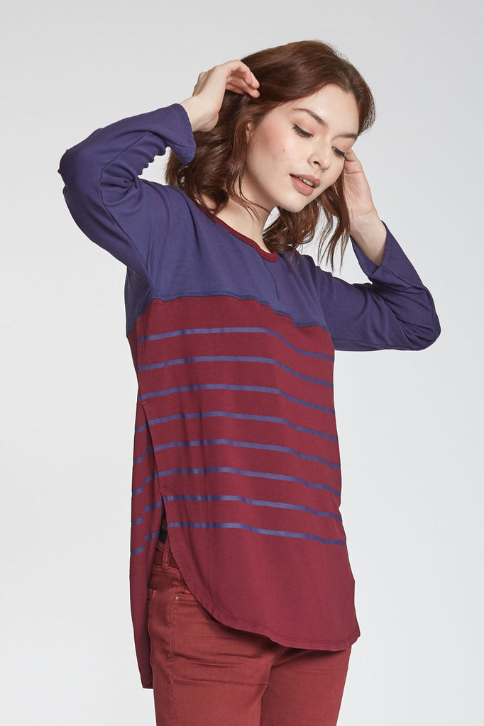 ARI PRINTED STRIPE BORDEAUX/NAVY