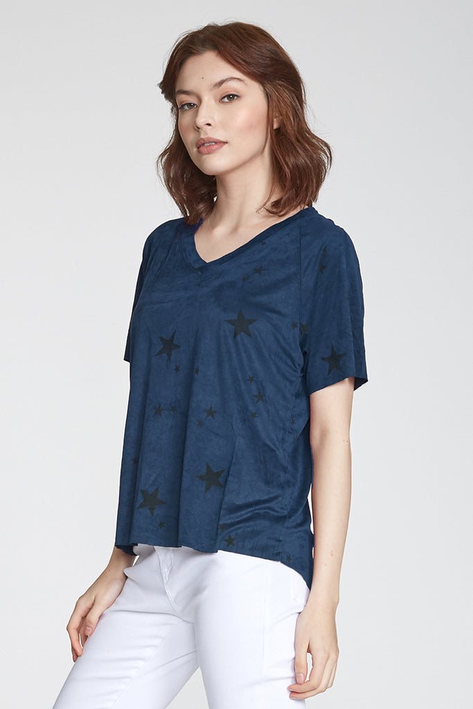 TAYLOR RELAXED FIT SUEDE V-NECK SAPPHIRE