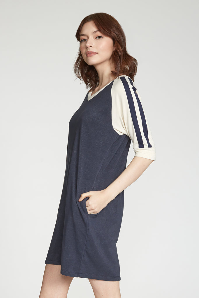 ARLENE COLORBLOCK ATHLETIC STRIPE DRESS NAVY