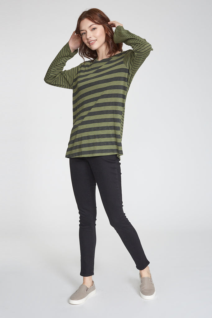 RONI PRINTED MIX STRIPE LONG SLEEVE SAFARI/BLACK