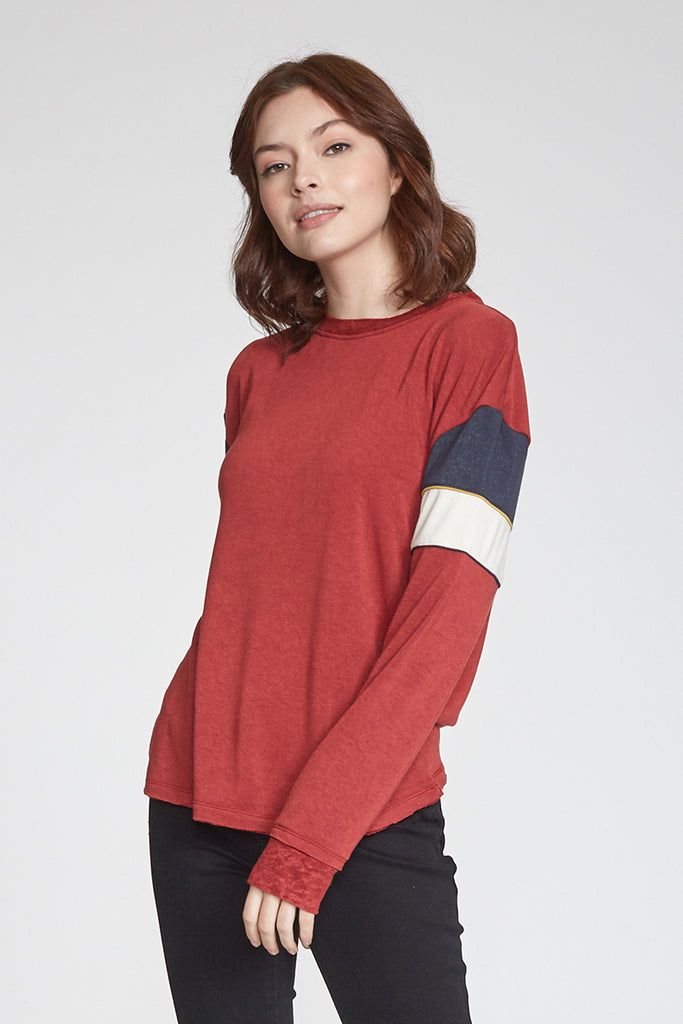 JESSIE COLORBLOCK LONG SLEEVE BORDEAUX