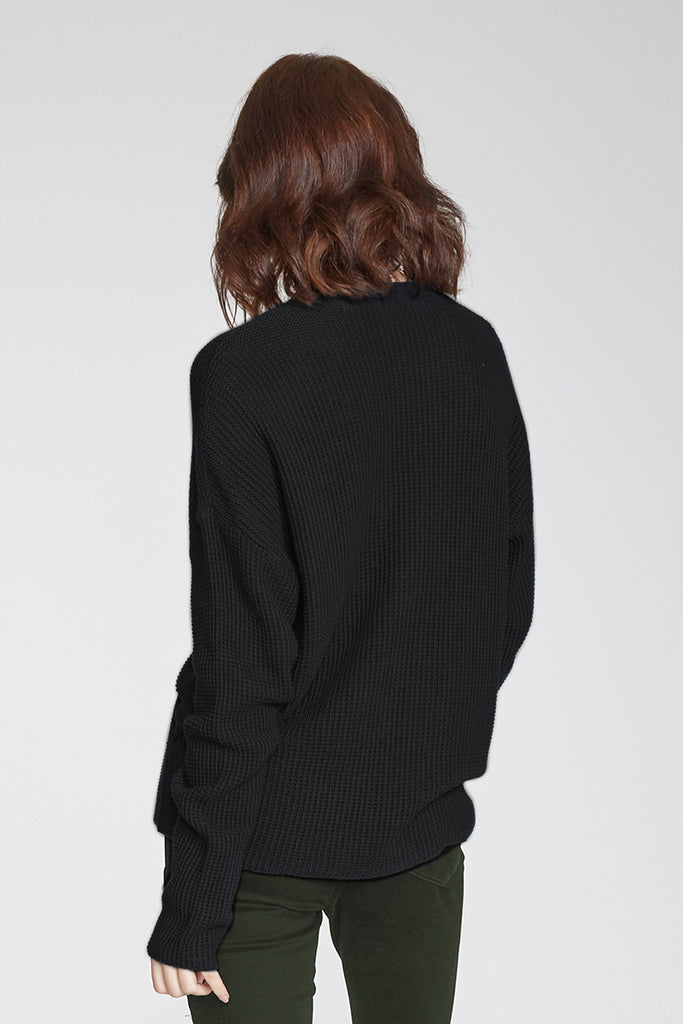 ELLIE WRAP FRONT SWEATER BLACK